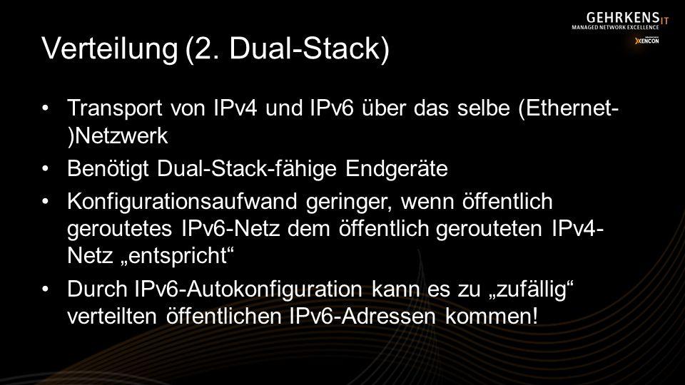 Verteilung (2. Dual-Stack) Transport von IPv4 und IPv6 über das selbe (Ethernet- )Netzwerk Benötigt Dual-Stack-fähige Endgeräte Konfigurationsaufwand