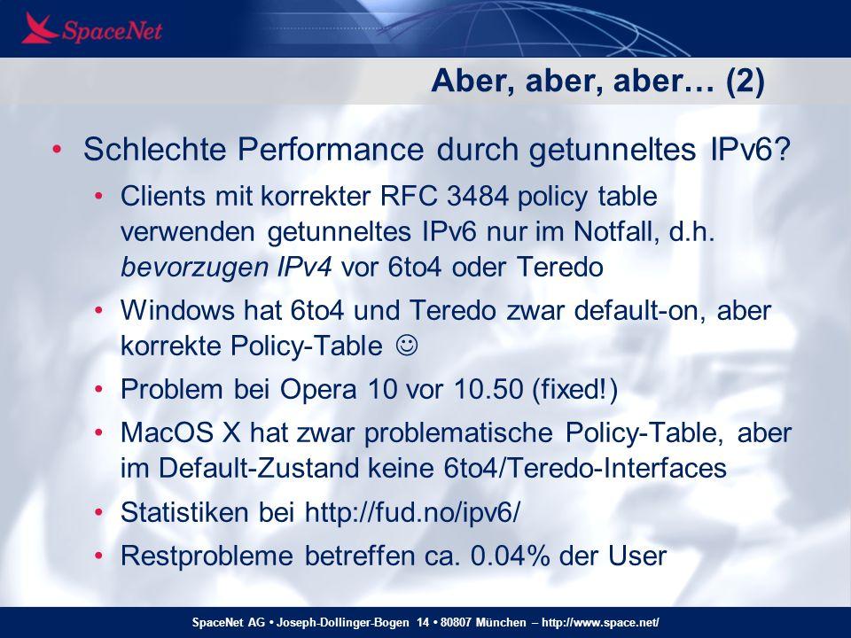 SpaceNet AG Joseph-Dollinger-Bogen 14 80807 München – http://www.space.net/ Aber, aber, aber… (3) Mangelhafte IPv6-Unterstützung in Ad- Networks usw.