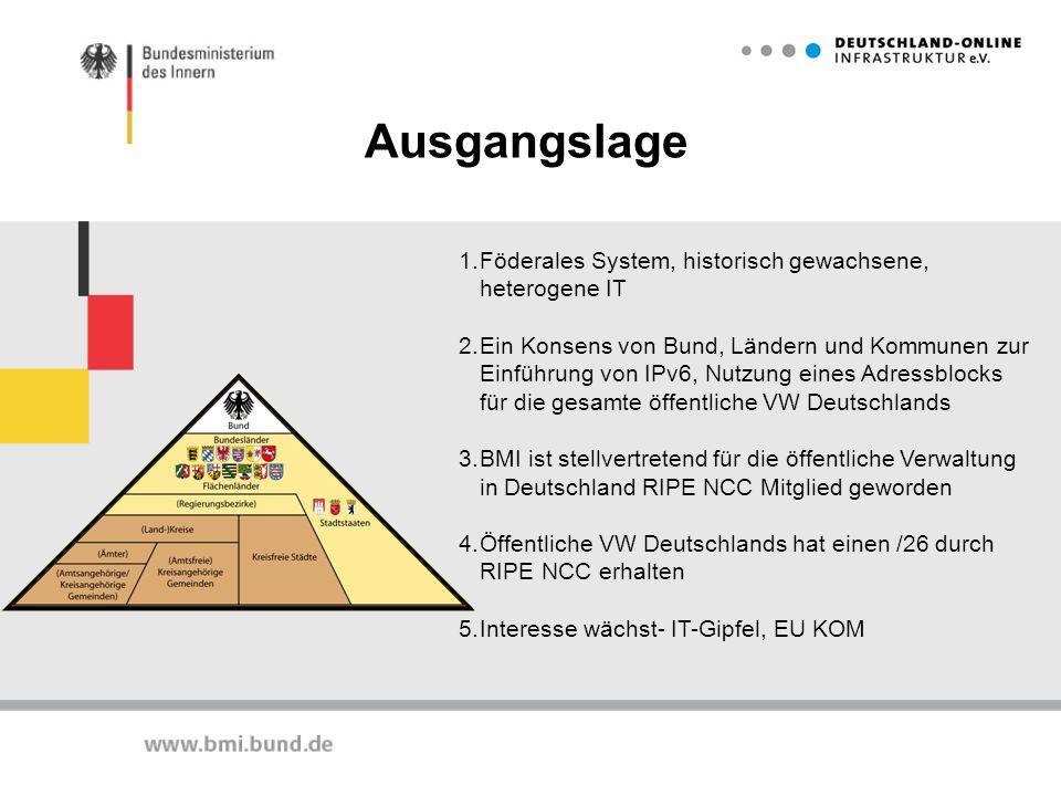 1.Föderales System, historisch gewachsene, heterogene IT 2.Ein Konsens von Bund, Ländern und Kommunen zur Einführung von IPv6, Nutzung eines Adressblo