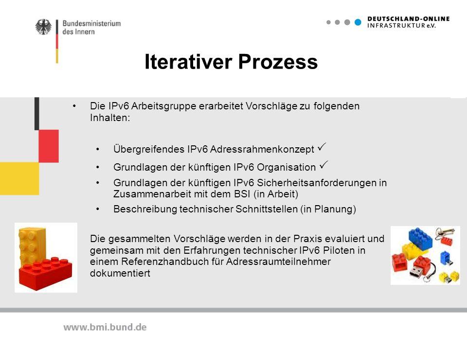 Iterativer Prozess Die IPv6 Arbeitsgruppe erarbeitet Vorschläge zu folgenden Inhalten: Übergreifendes IPv6 Adressrahmenkonzept Grundlagen der künftige