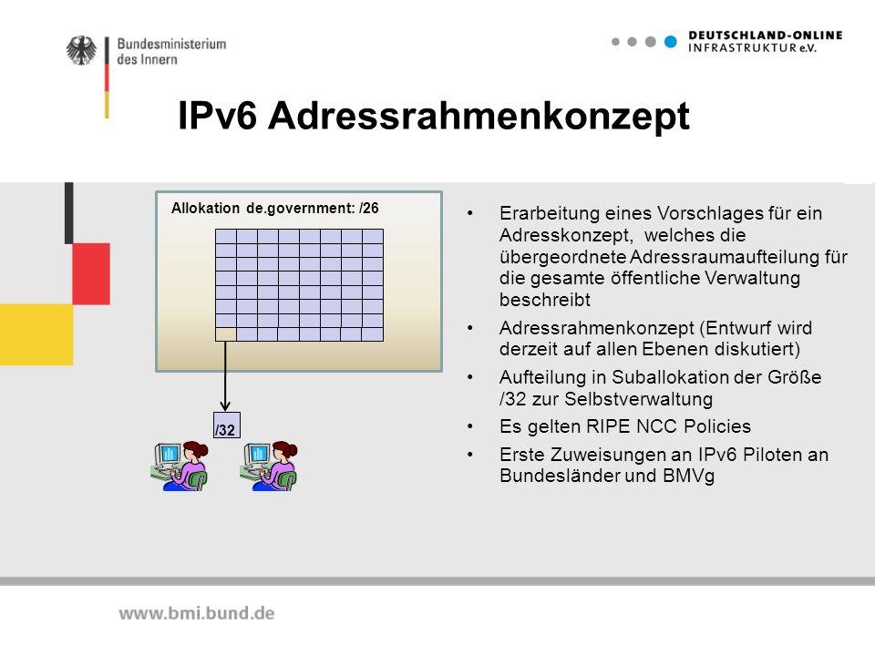 IPv6 Adressrahmenkonzept Allokation de.government: /26 /32 Erarbeitung eines Vorschlages für ein Adresskonzept, welches die übergeordnete Adressraumau