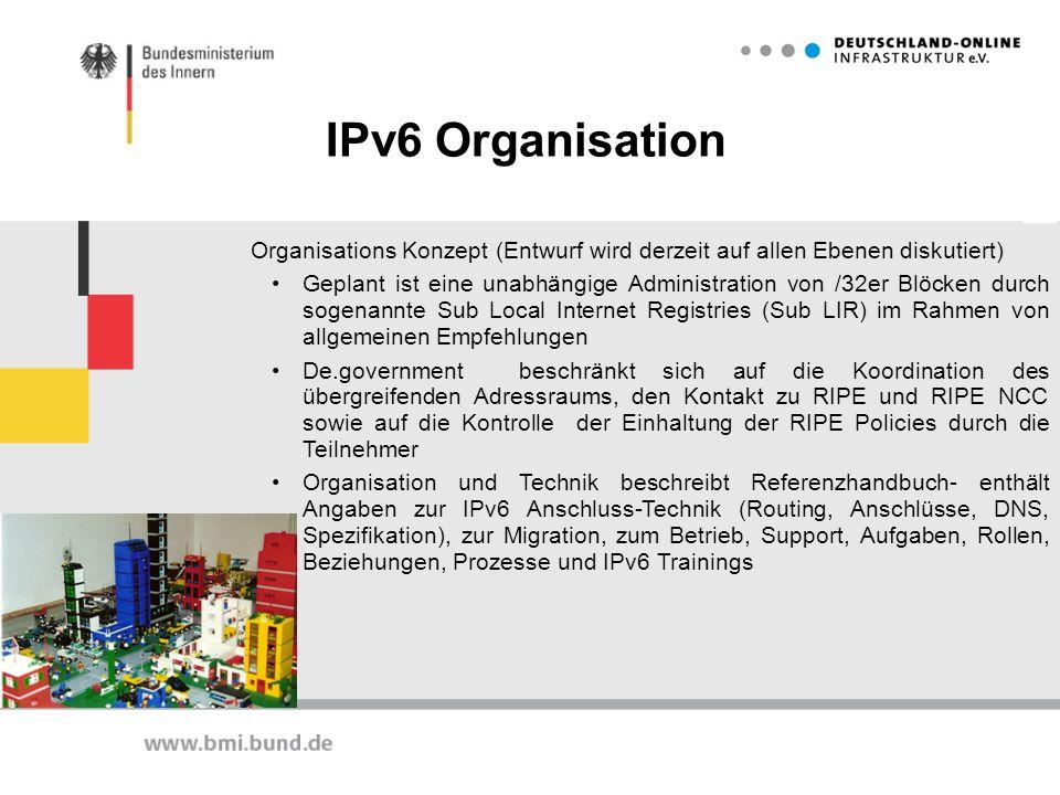 IPv6 Organisation Organisations Konzept (Entwurf wird derzeit auf allen Ebenen diskutiert) Geplant ist eine unabhängige Administration von /32er Blöck