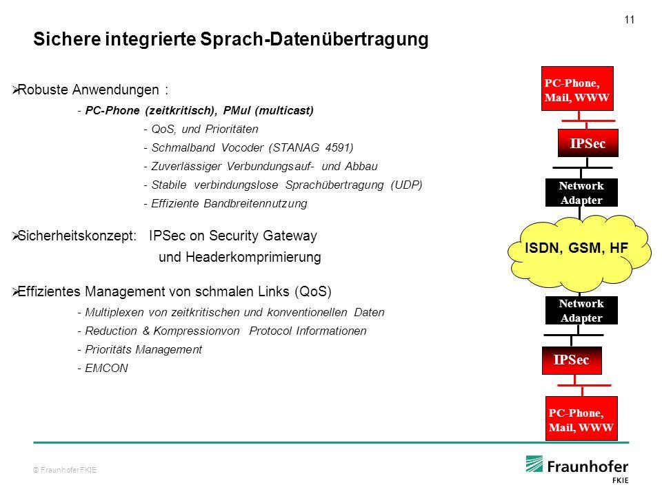 © Fraunhofer FKIE 11 Sichere integrierte Sprach-Datenübertragung Robuste Anwendungen : - PC-Phone (zeitkritisch), PMul (multicast) - QoS, und Prioritä