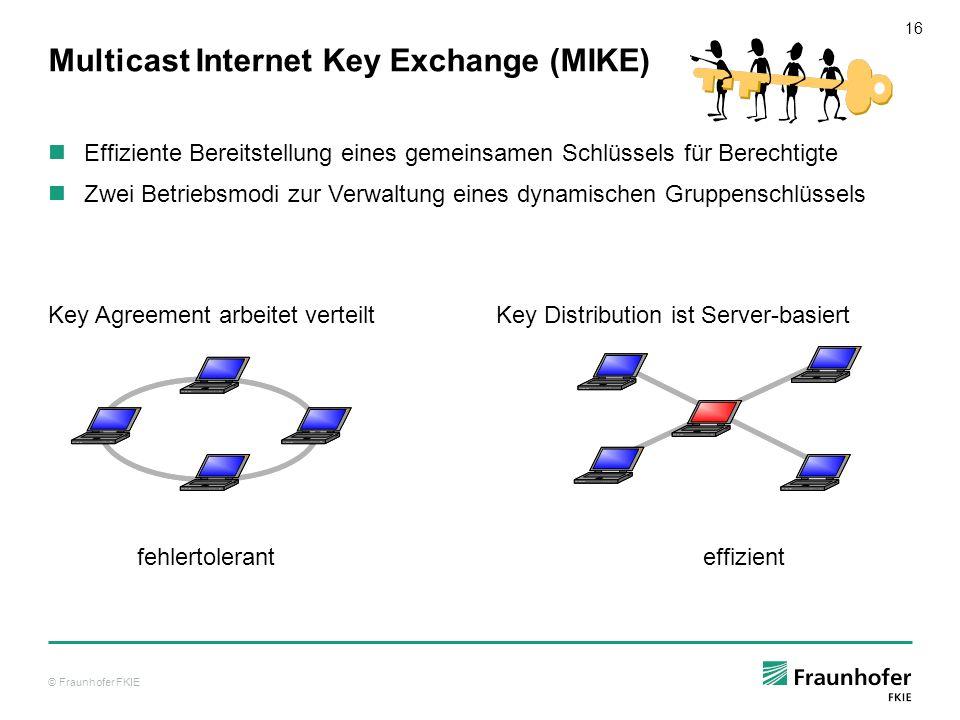 © Fraunhofer FKIE 16 Multicast Internet Key Exchange (MIKE) Effiziente Bereitstellung eines gemeinsamen Schlüssels für Berechtigte Zwei Betriebsmodi z