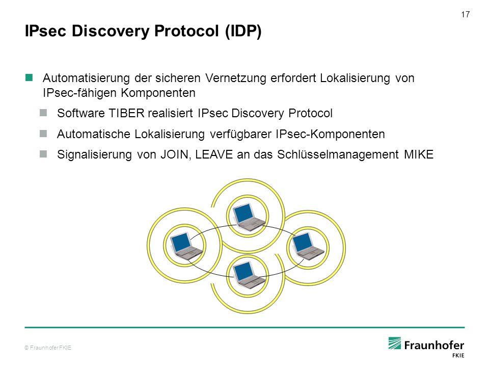 © Fraunhofer FKIE 17 IPsec Discovery Protocol (IDP) Automatisierung der sicheren Vernetzung erfordert Lokalisierung von IPsec-fähigen Komponenten Soft