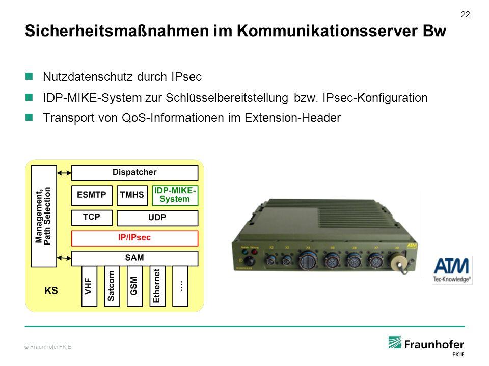 © Fraunhofer FKIE 22 Sicherheitsmaßnahmen im Kommunikationsserver Bw Nutzdatenschutz durch IPsec IDP-MIKE-System zur Schlüsselbereitstellung bzw. IPse