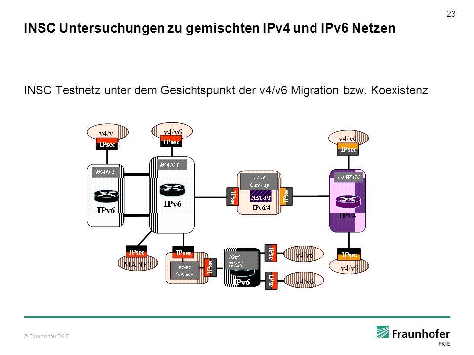 © Fraunhofer FKIE 23 INSC Untersuchungen zu gemischten IPv4 und IPv6 Netzen INSC Testnetz unter dem Gesichtspunkt der v4/v6 Migration bzw. Koexistenz