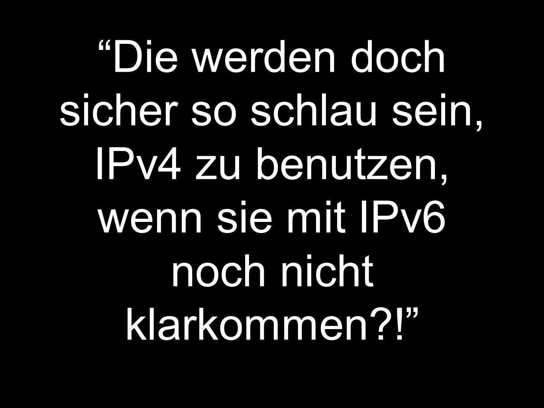 Die werden doch sicher so schlau sein, IPv4 zu benutzen, wenn sie mit IPv6 noch nicht klarkommen?!