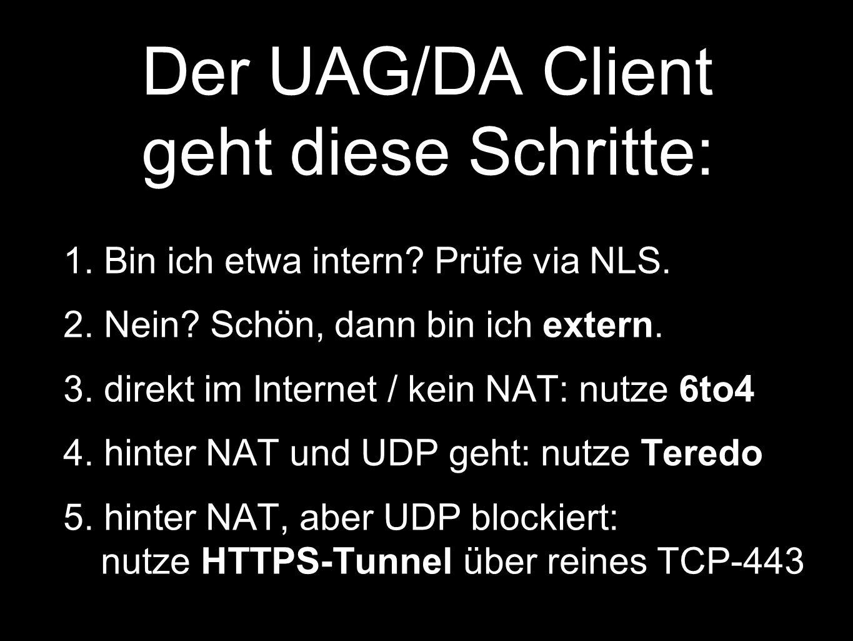 Der UAG/DA Client geht diese Schritte: 1.Bin ich etwa intern.