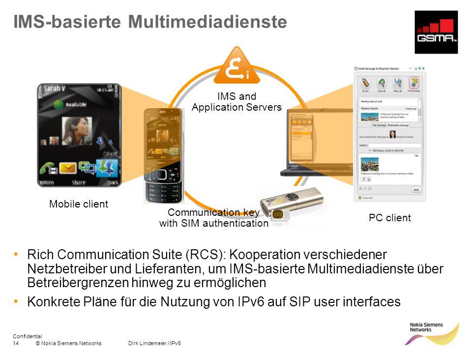 15© Nokia Siemens Networks Dirk Lindemeier / IPv6 Confidential Noch mehr Adressen… IPv6: Basis für entstehenden Markt für Kommunikation von Maschine zu Maschine – Smart Meters, Sensoren, Fahrzeuge Mobile World Congress 2010: HSPA - kontrollierter Roboter (rechts), LTE - Videokonferenz zwischen Messestand und Fahrzeug (unten)
