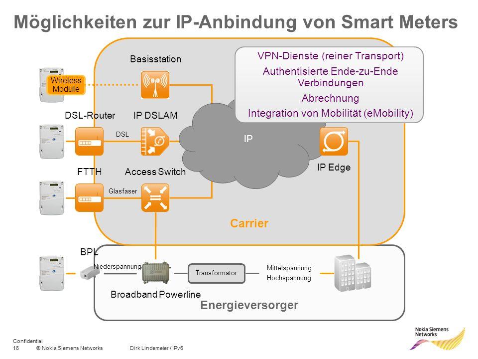 16© Nokia Siemens Networks Dirk Lindemeier / IPv6 Confidential Energieversorger Carrier Möglichkeiten zur IP-Anbindung von Smart Meters Wireless Modul