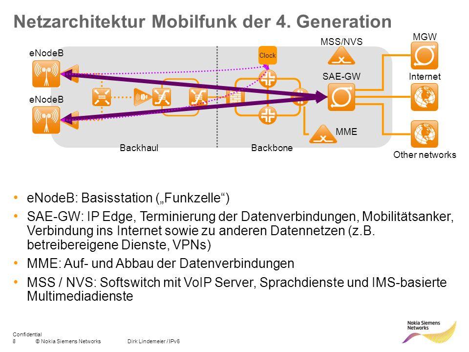 8© Nokia Siemens Networks Dirk Lindemeier / IPv6 Confidential Netzarchitektur Mobilfunk der 4. Generation Internet eNodeB MME MSS/NVS Clock BackhaulBa