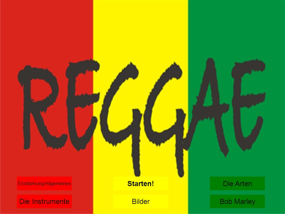 Die Entstehung/Allgemeines Reggae entstand Ende der 60er Jahre unter dem Einfluss amerikanischer R&B und Jazz-Musik aus seinem unmittelbaren Vorläufern Mento, Ska und Rocksteady und entwickelte sich seitdem zu einer der bedeutendsten Richtungen populärer Musik.