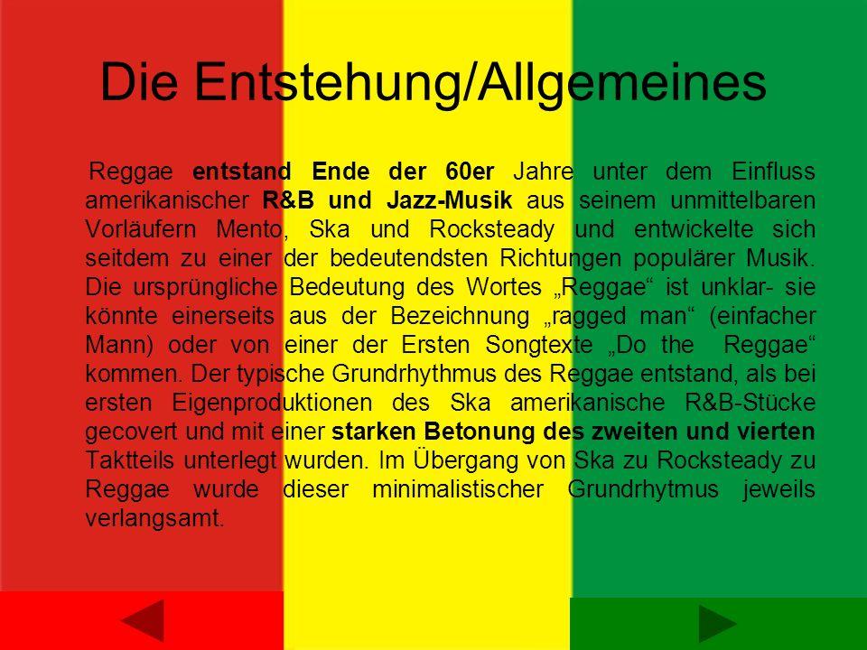 Die Instrumente E-Bass: Besonders wichtig im Klangbild eines Reggaesongs ist stets der Basslauf, der das Gegengewicht zu den Offbeats bildet und oft das eigentliche Thema des Stückes beschreibt.