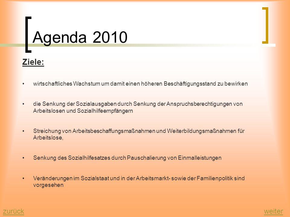 Agenda 2010 weiterzurück Was ist die Agenda 2010 ? -mehrgliedriges Konzept um das deutsche Sozialsystem und den Arbeitsmarkt zu reformieren -Das Konze