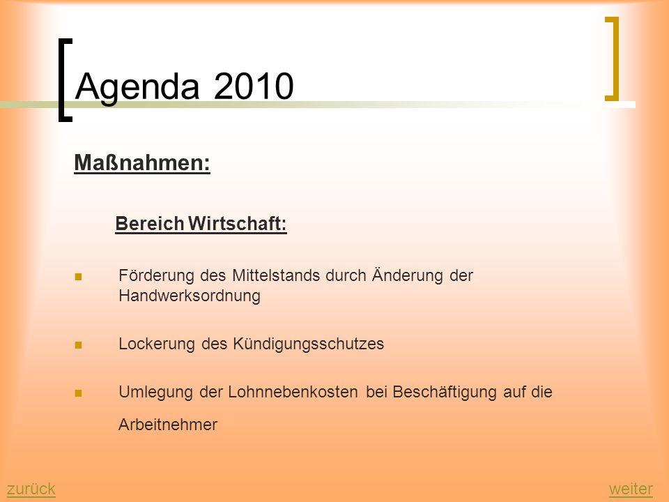 Agenda 2010 zurückweiter Ziele: wirtschaftliches Wachstum um damit einen höheren Beschäftigungsstand zu bewirken die Senkung der Sozialausgaben durch
