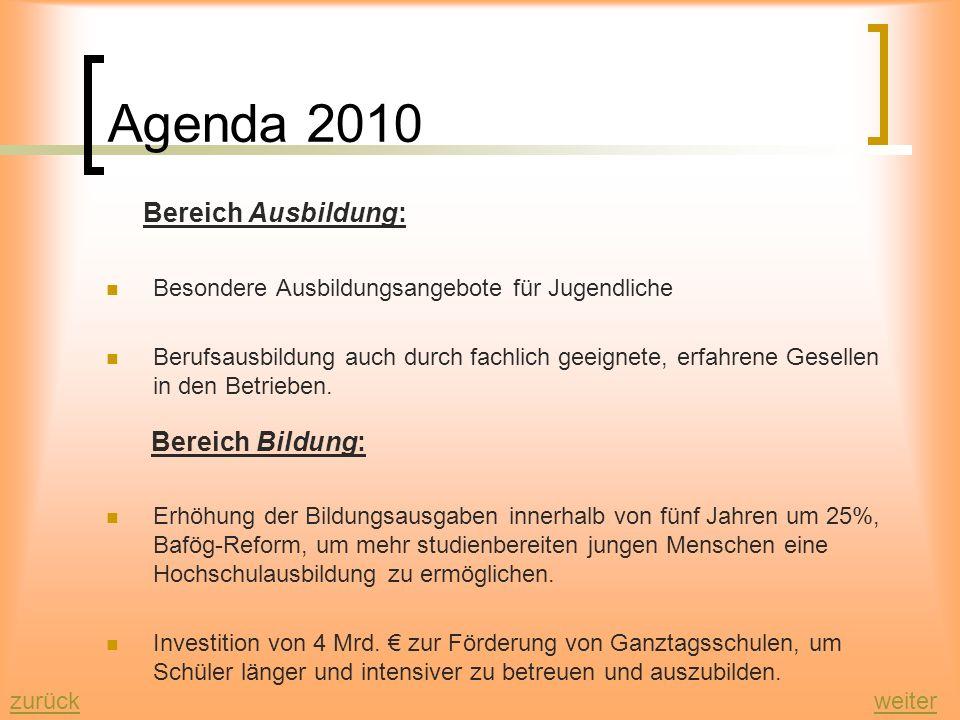 Agenda 2010 Maßnahmen: Bereich Wirtschaft: Förderung des Mittelstands durch Änderung der Handwerksordnung Lockerung des Kündigungsschutzes Umlegung de