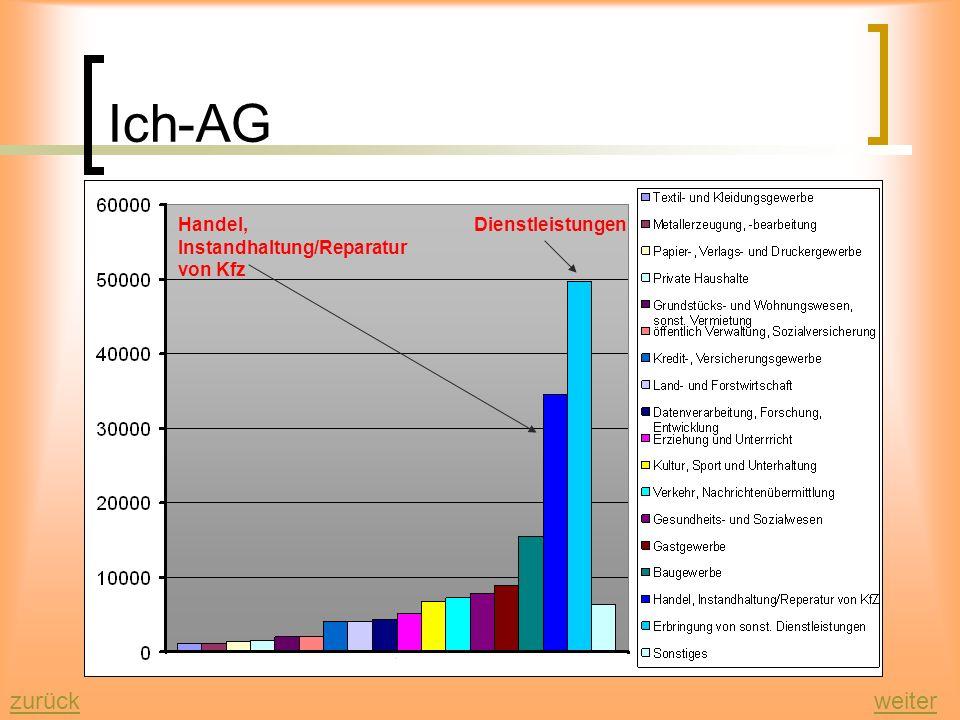 Ich-AG zurückweiter Durch die Einführung der sog. Ich-AG wurden im Jahr 2005 in verschiedenen Berufsgruppen neue Firmen und Unternehmen gegründet. Die