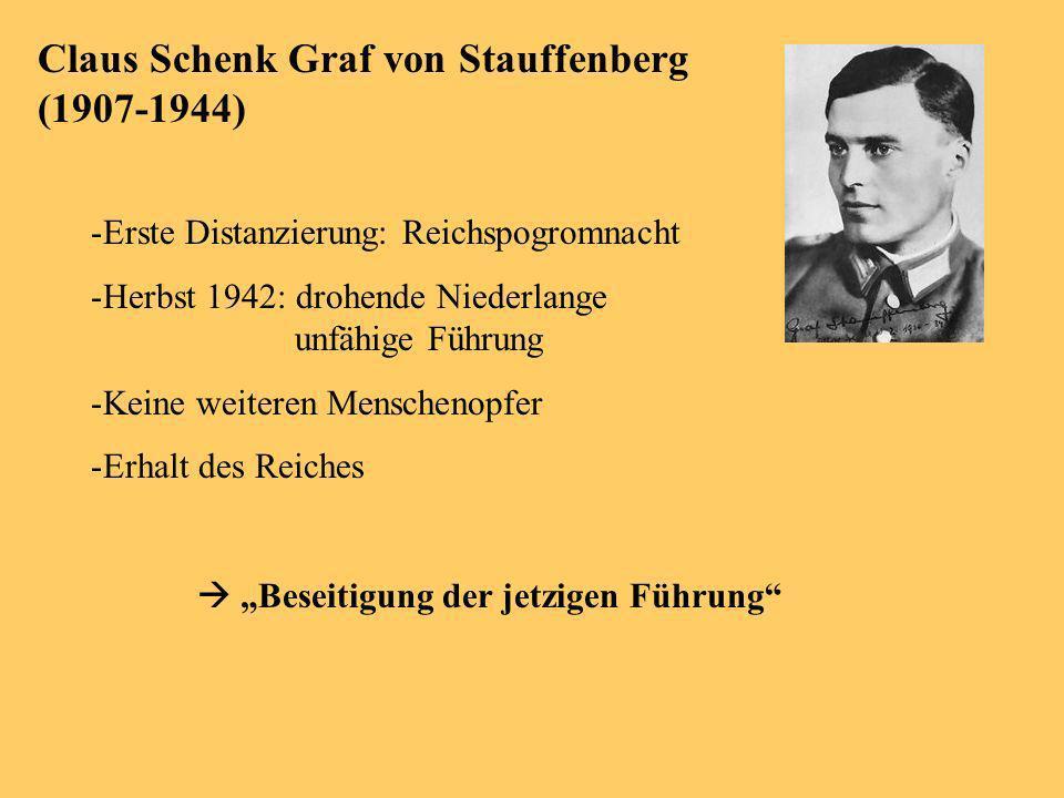Claus Schenk Graf von Stauffenberg (1907-1944) -Erste Distanzierung: Reichspogromnacht -Herbst 1942: drohende Niederlange unfähige Führung -Keine weiteren Menschenopfer -Erhalt des Reiches Beseitigung der jetzigen Führung