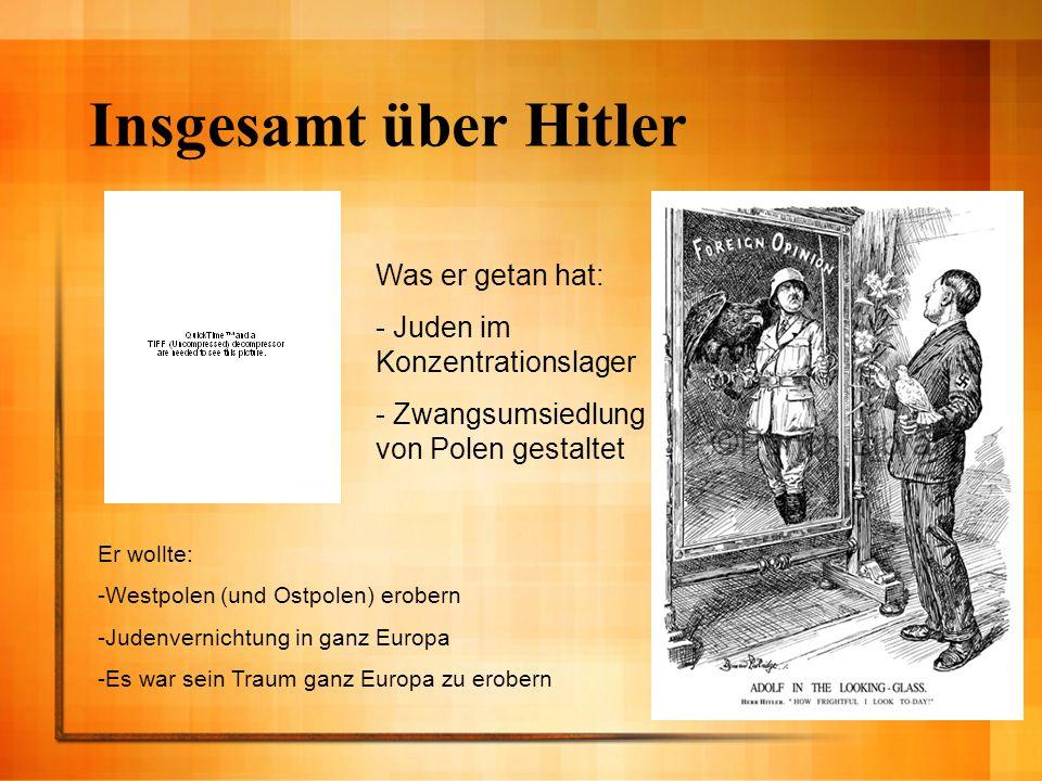 Insgesamt über Hitler Er wollte: -Westpolen (und Ostpolen) erobern -Judenvernichtung in ganz Europa -Es war sein Traum ganz Europa zu erobern Was er g