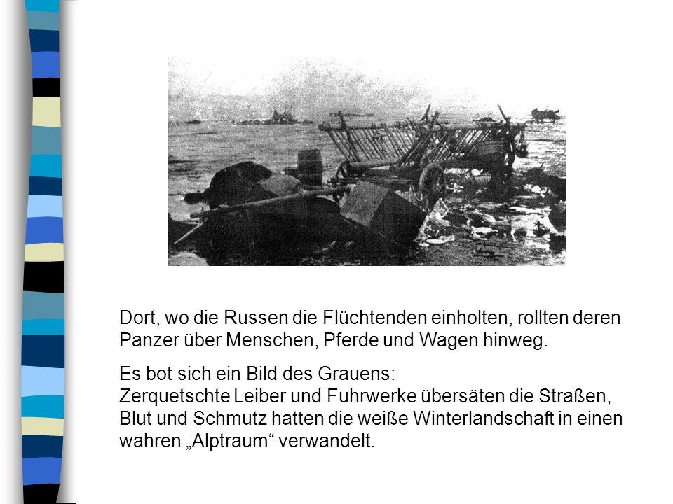 Die ostpreußische Bevölkerung floh bei Eiseskälte Richtung Westen. Wer auf tiefverschneiten Seitenstraßen nicht stecken blieb oder erfror, wurde Opfer