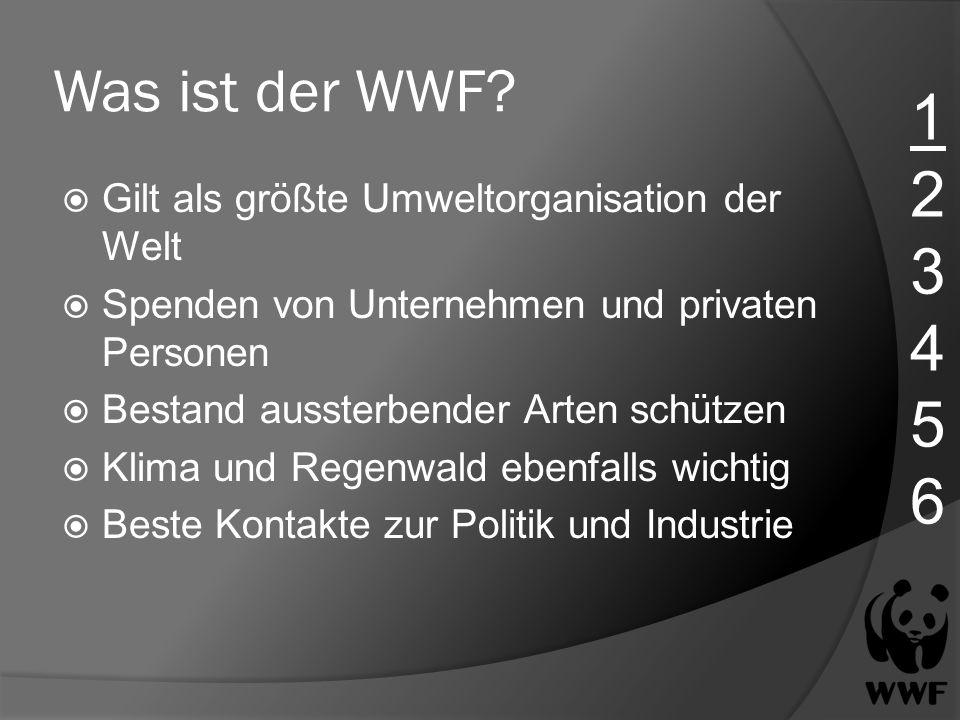 Was ist der WWF? Gilt als größte Umweltorganisation der Welt Spenden von Unternehmen und privaten Personen Bestand aussterbender Arten schützen Klima