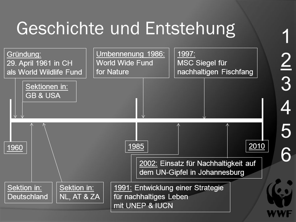 Geschichte und Entstehung 123456123456 Gründung: 29. April 1961 in CH als World Wildlife Fund 1960 1985 2010 Sektionen in: GB & USA Sektion in: Deutsc