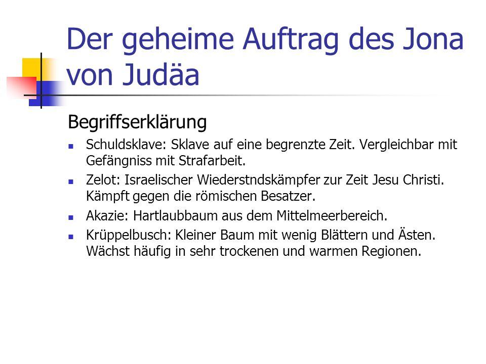 Der geheime Auftrag des Jona von Judäa Begriffserklärung Schuldsklave: Sklave auf eine begrenzte Zeit.