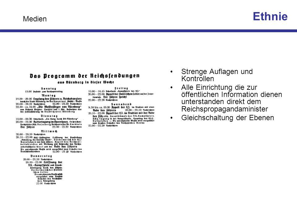 Strenge Auflagen und Kontrollen Alle Einrichtung die zur öffentlichen Information dienen unterstanden direkt dem Reichspropagandaminister Gleichschalt