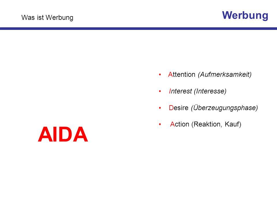 Attention (Aufmerksamkeit) Interest (Interesse) Desire (Überzeugungsphase) Action (Reaktion, Kauf) AIDA Werbung Was ist Werbung