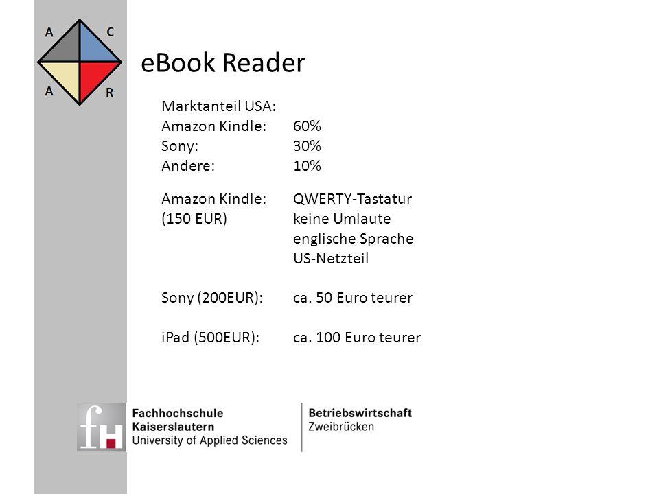 eBook Reader Amazon Kindle:QWERTY-Tastatur (150 EUR)keine Umlaute englische Sprache US-Netzteil Sony (200EUR):ca. 50 Euro teurer iPad (500EUR):ca. 100