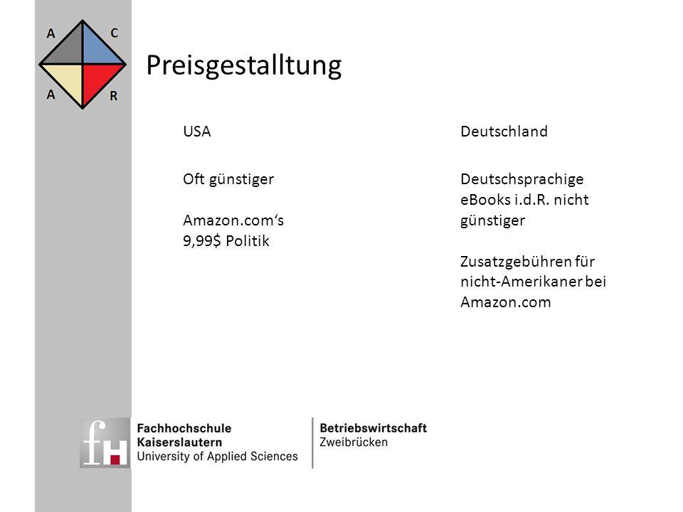 Preisgestalltung USADeutschland Oft günstiger Amazon.coms 9,99$ Politik Deutschsprachige eBooks i.d.R. nicht günstiger Zusatzgebühren für nicht-Amerik