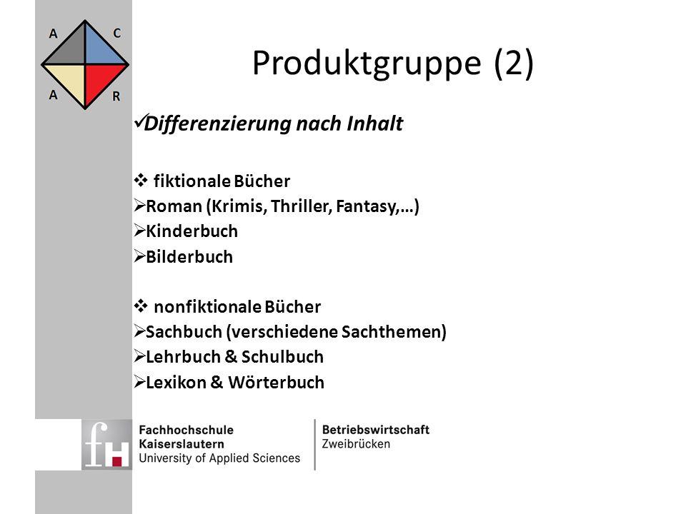 Produktgruppe (2) Differenzierung nach Inhalt fiktionale Bücher Roman (Krimis, Thriller, Fantasy,…) Kinderbuch Bilderbuch nonfiktionale Bücher Sachbuc
