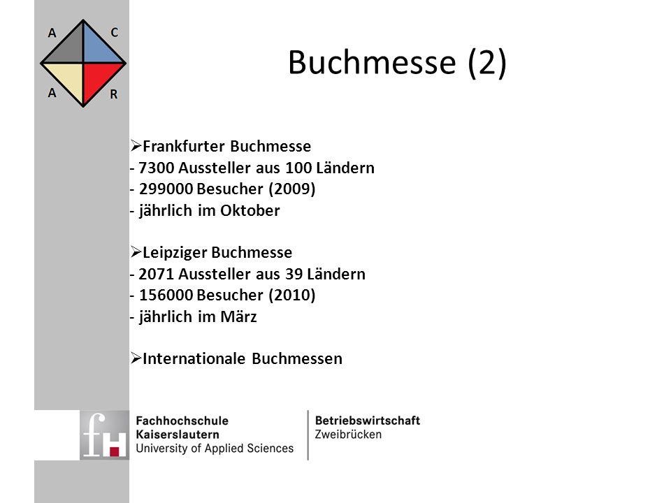 Buchmesse (2) Frankfurter Buchmesse - 7300 Aussteller aus 100 Ländern - 299000 Besucher (2009) - jährlich im Oktober Leipziger Buchmesse - 2071 Ausste