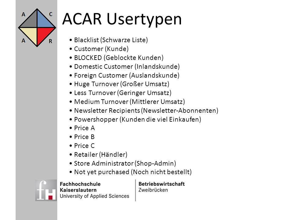 ACAR Usertypen Blacklist (Schwarze Liste) Customer (Kunde) BLOCKED (Geblockte Kunden) Domestic Customer (Inlandskunde) Foreign Customer (Auslandskunde