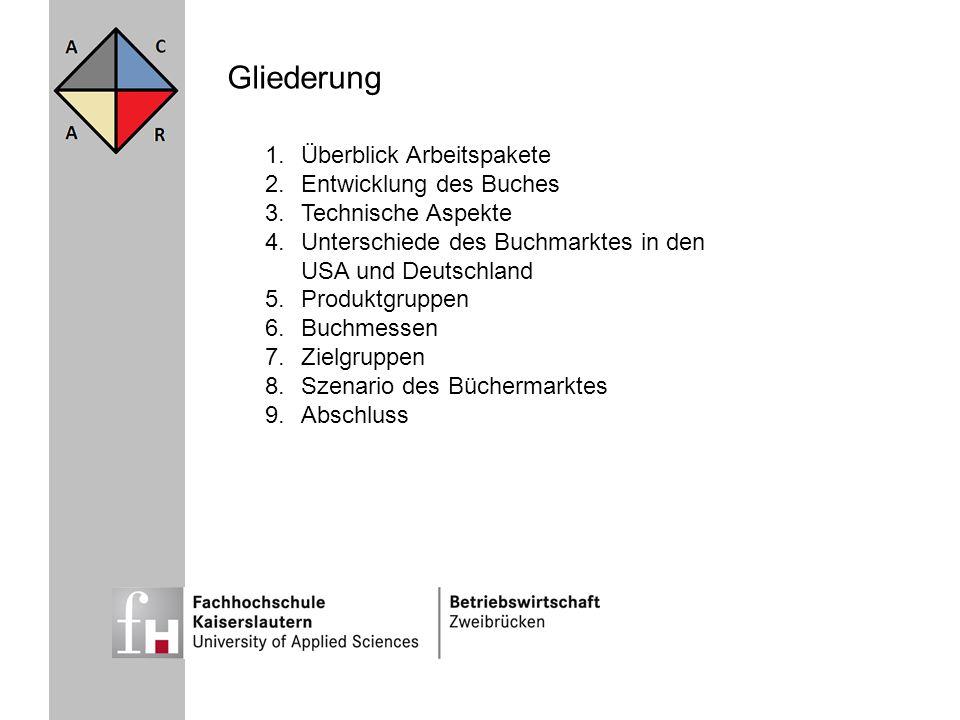 Gliederung 1.Überblick Arbeitspakete 2.Entwicklung des Buches 3.Technische Aspekte 4.Unterschiede des Buchmarktes in den USA und Deutschland 5.Produkt