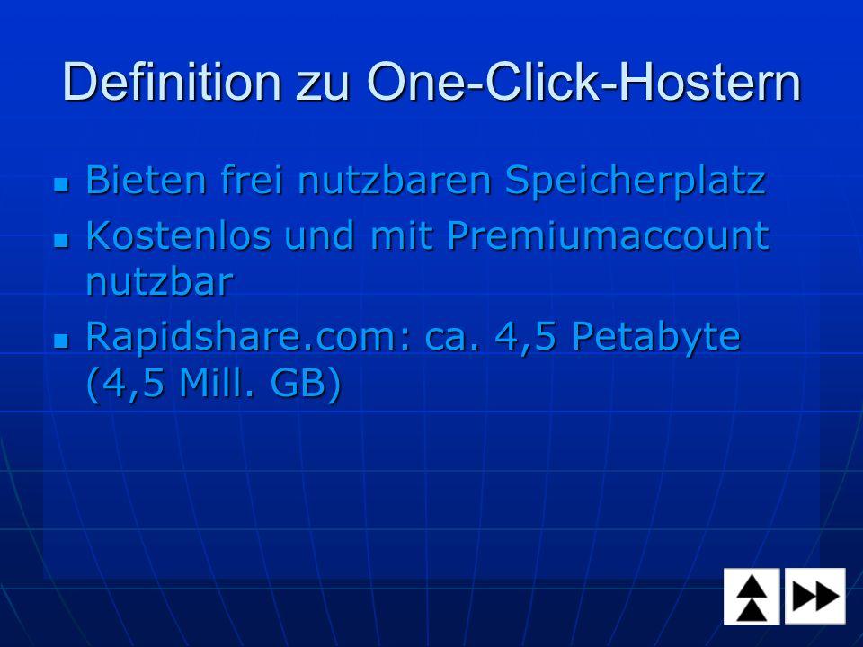 Definition zu One-Click-Hostern Bieten frei nutzbaren Speicherplatz Bieten frei nutzbaren Speicherplatz Kostenlos und mit Premiumaccount nutzbar Kostenlos und mit Premiumaccount nutzbar Rapidshare.com: ca.