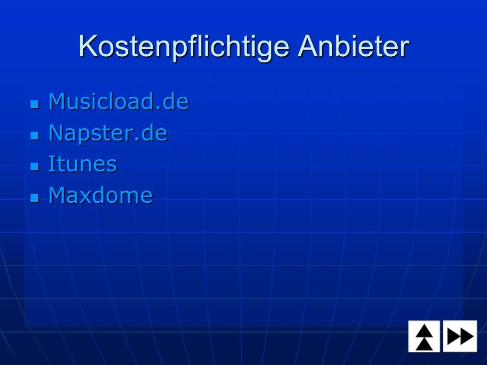 Kostenpflichtige Anbieter Musicload.de Musicload.de Napster.de Napster.de Itunes Itunes Maxdome Maxdome
