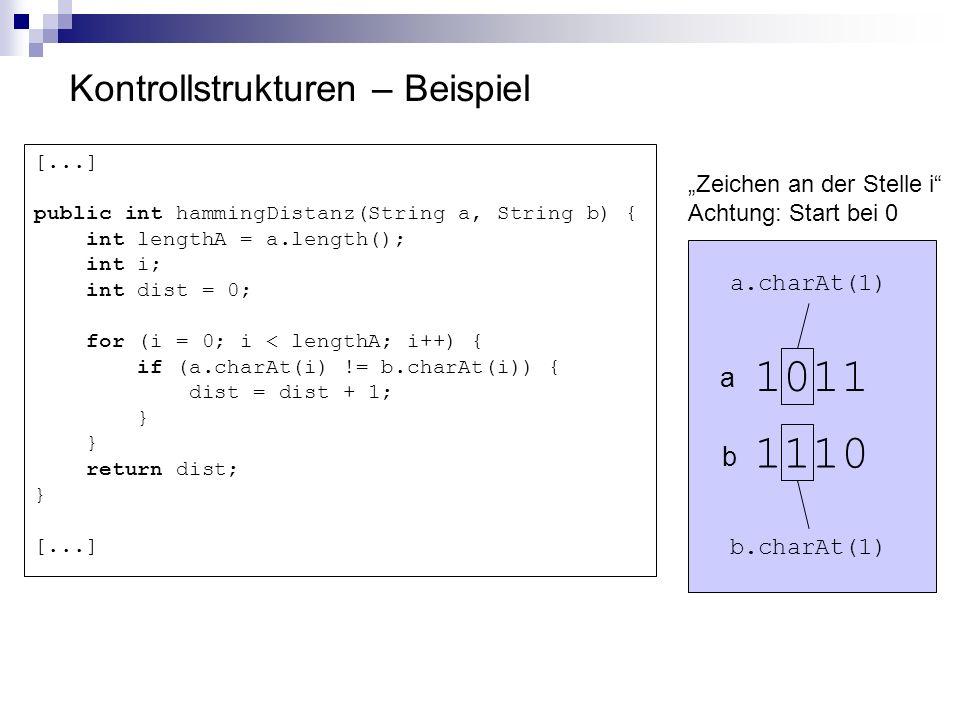 Kontrollstrukturen – Beispiel [...] public int hammingDistanz(String a, String b) { int lengthA = a.length(); int i; int dist = 0; for (i = 0; i < len