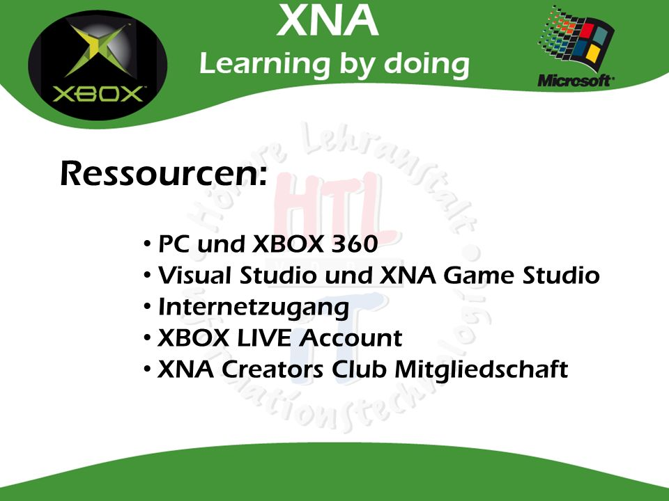 Ressourcen: PC und XBOX 360 Visual Studio und XNA Game Studio Internetzugang XBOX LIVE Account XNA Creators Club Mitgliedschaft