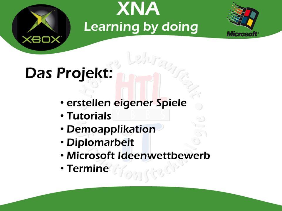 Das Projekt: erstellen eigener Spiele Tutorials Demoapplikation Diplomarbeit Microsoft Ideenwettbewerb Termine
