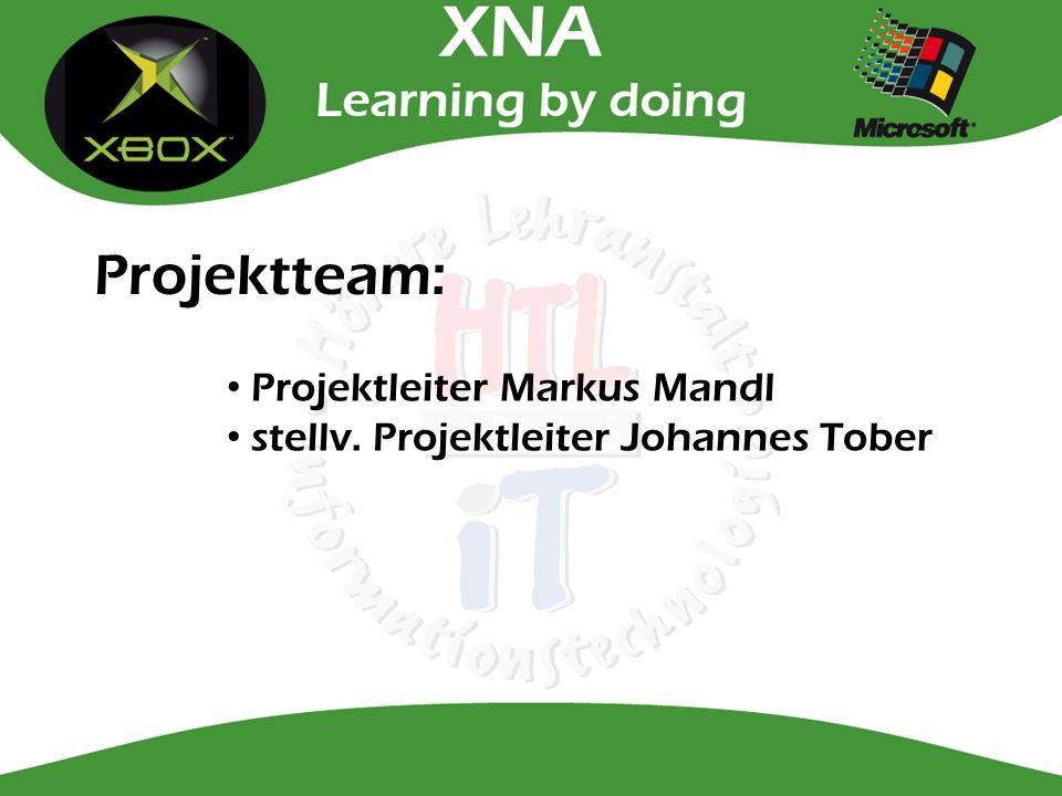Projektteam: Projektleiter Markus Mandl stellv. Projektleiter Johannes Tober