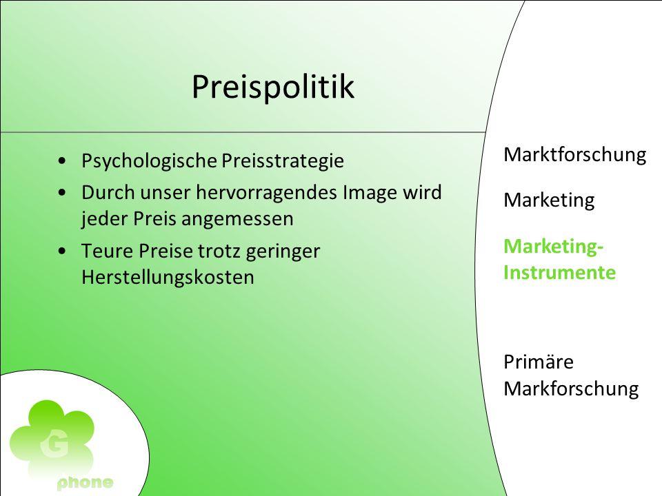 Marktforschung Marketing Marketing- Instrumente Primäre Markforschung Preispolitik Psychologische Preisstrategie Durch unser hervorragendes Image wird jeder Preis angemessen Teure Preise trotz geringer Herstellungskosten Marketing- Instrumente