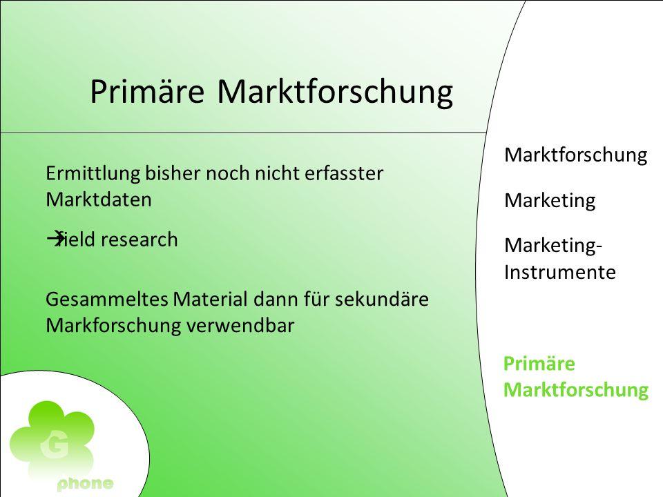 Marktforschung Marketing Marketing- Instrumente Primäre Markforschung Primäre Marktforschung Ermittlung bisher noch nicht erfasster Marktdaten field research Gesammeltes Material dann für sekundäre Markforschung verwendbar
