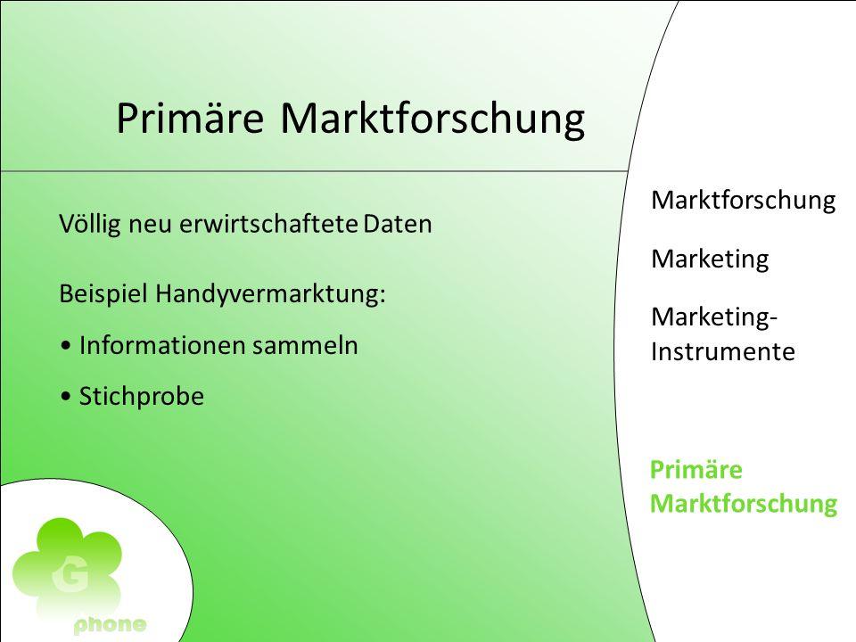 Marktforschung Marketing Marketing- Instrumente Primäre Markforschung Primäre Marktforschung Völlig neu erwirtschaftete Daten Beispiel Handyvermarktung: Informationen sammeln Stichprobe
