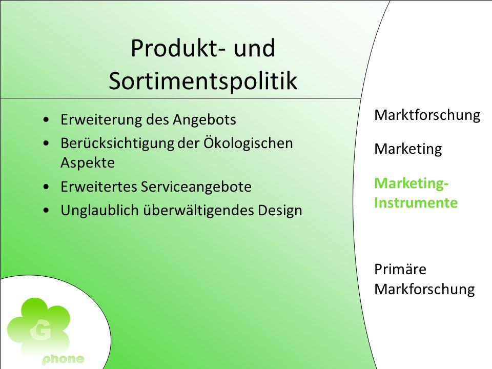 Marktforschung Marketing Marketing- Instrumente Primäre Markforschung Produkt- und Sortimentspolitik Erweiterung des Angebots Berücksichtigung der Ökologischen Aspekte Erweitertes Serviceangebote Unglaublich überwältigendes Design Marketing- Instrumente