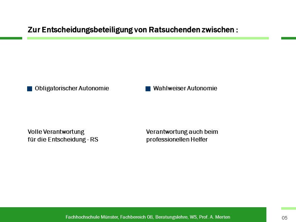 Persönliche Beratung als Fachhochschule Münster, Fachbereich 08, Beratungslehre, WS, Prof.