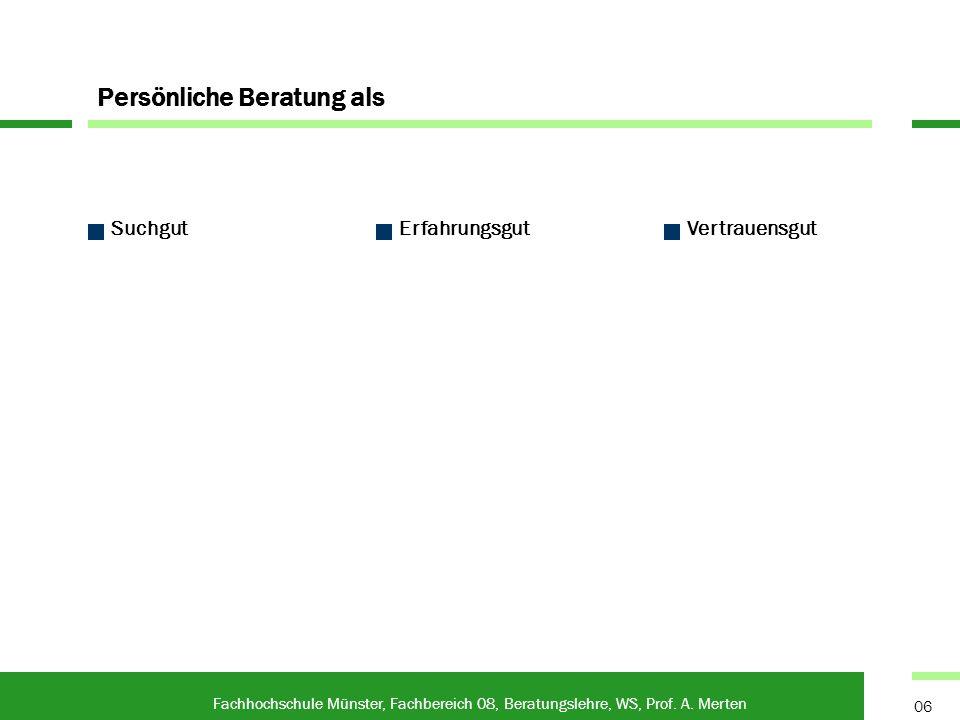 Persönliche Beratung als Fachhochschule Münster, Fachbereich 08, Beratungslehre, WS, Prof. A. Merten 06 SuchgutErfahrungsgutVertrauensgut