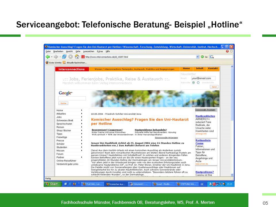 Kommunikation und Gesprächsführung am Telefon Fachhochschule Münster, Fachbereich 08, Beratungslehre, WS, Prof.