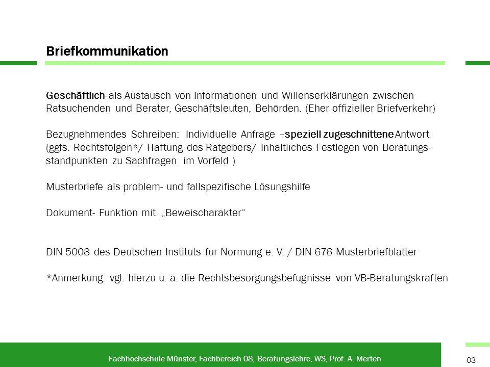 Fax und Fax on Demand Fachhochschule Münster, Fachbereich 08, Beratungslehre, WS, Prof.